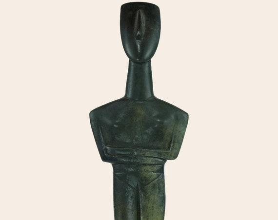 Cycladic Idol Statue Ancient Greek Sculpture Female Idol Original Artifact Handmade Art Museum Reproduction Modern Looking Woman Statuette