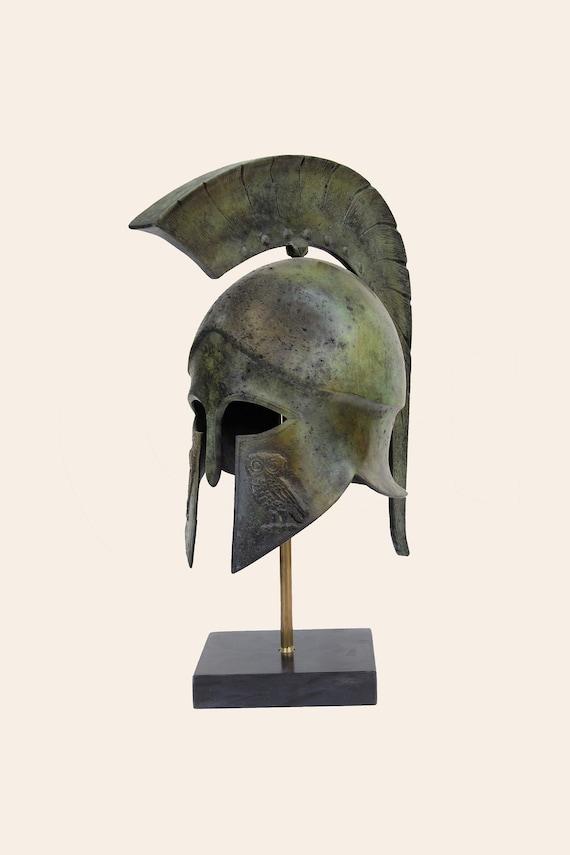 Athenian Battle Helmet Owl Crest Bronze Ancient Greek Museum Replica Vintage