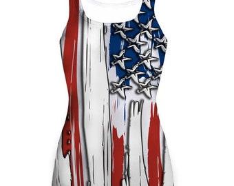 Stylized American Flag - Patriotic Sublimated Ladies Tanks