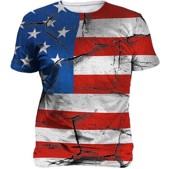 f96c76e206e Cracked American Flag Patriotic Sublimated Unisex T-Shirt | Etsy