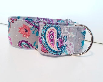 Grey Paisley Collar -flat and martingale available- Cowgirl inspired