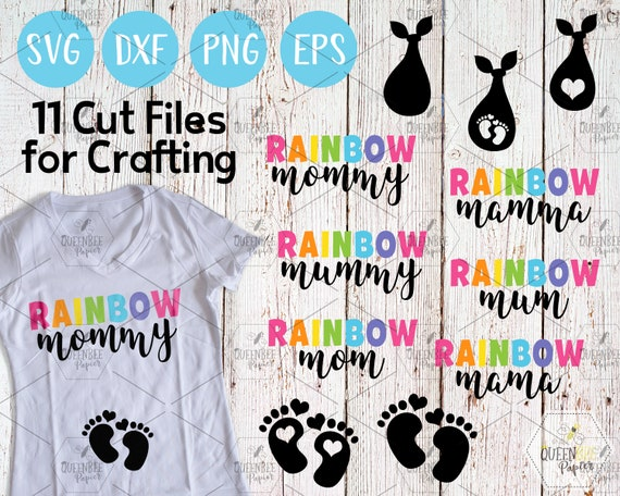 Rainbow Pregnancy Maternity Cutting Files, Commercial Use