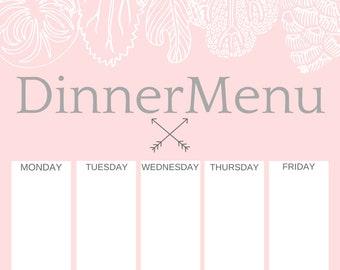 family menu planner etsy
