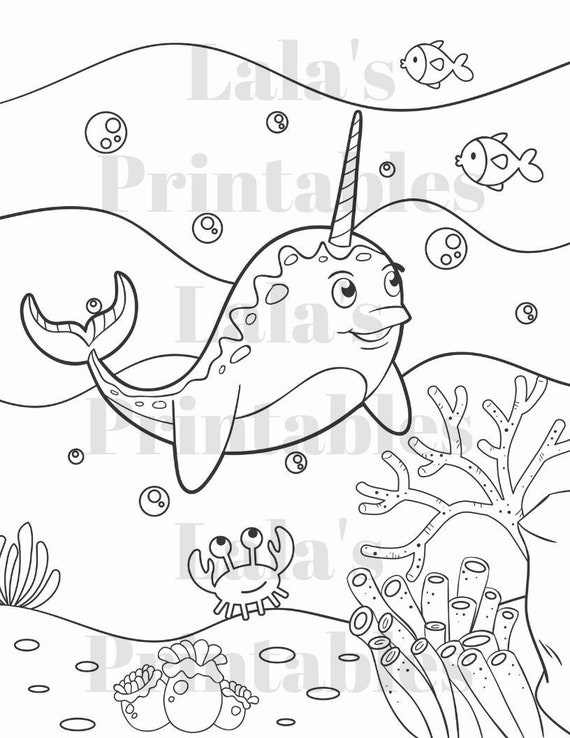 - Five Childrens Coloring Pages Narwhal Coloring Pages Set Etsy