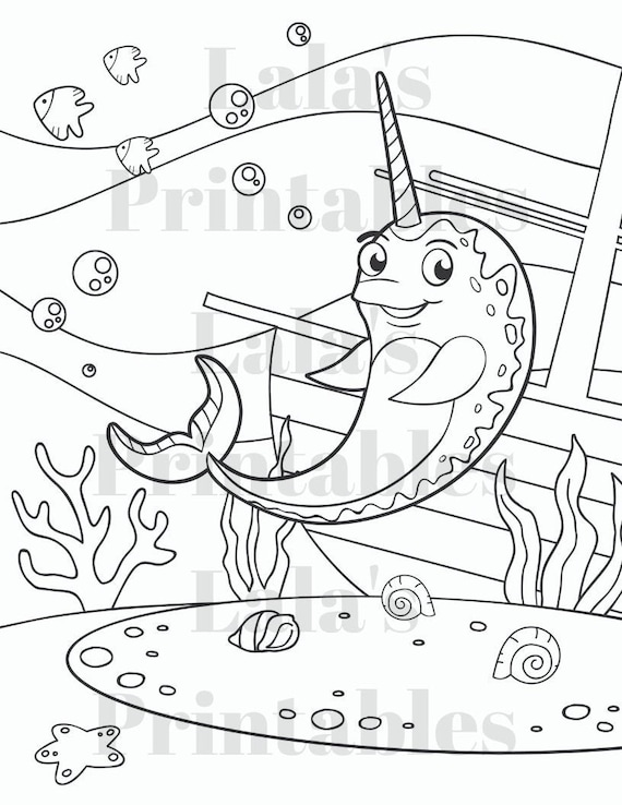 Five Narwhal Coloring Pages Set Printable Digital Download Etsy