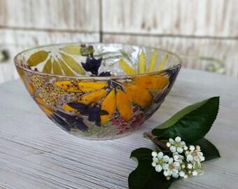 Dried Flower Decor, Flower Bowl Pressed Flower Trinket Bowl Real Flowers In Resin Trinket Dish