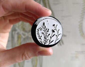 Crescent Moon with Herbs Pin