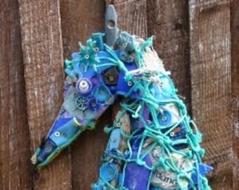 Seahorse Recycled beach art Sculpture