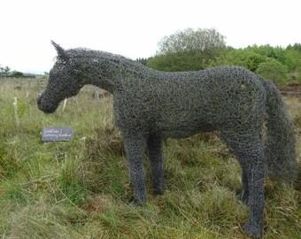 Large Wire War Horse Garden Animal Sculpture