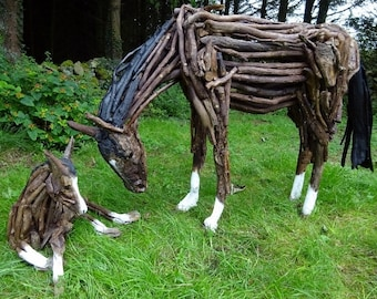 Mare and Foal Driftwood Pony Horse Garden Sculpture