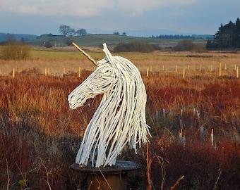 Unicorn Ecoart Large Wood Garden Sculpture