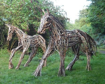 Mare & Foal Horse Pony Wood Sculpture