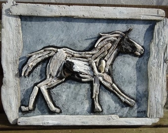 Original Ecoarts Driftwood Your Horse on canvas