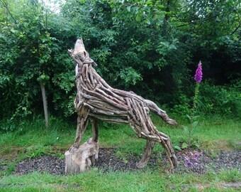 Driftwood Wolf Garden Ornament Sculpture