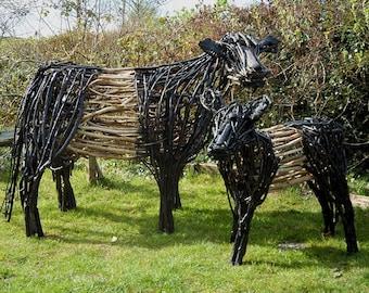 Belted Galloway Cow & Calf Large Garden Animal Sculpture