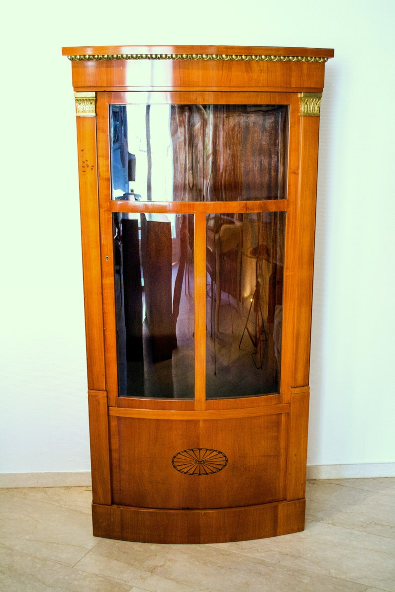 China Cabinet Cherry Inlay Inlays Inlaid Antiques