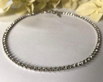 8a8e29422 Dainty Rhinestone Choker | Diamond Choker | Crystal Choker Necklace |  Dainty Necklace | Silver Choker | Rhinestone Choker |Crystal Choker