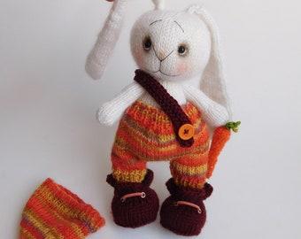 3cb36391e69 White rabbit toy Plush bunny rabbit Knitted bunny Soft toy rabbit Stuffed  Bunny art toy Rabbit lover gift 30th gift idea Interior toy