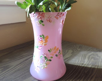 Hand-Painted Pink Glass Vase