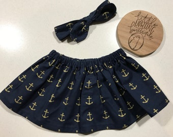 Anchors Away Skirt& Headband set - 00