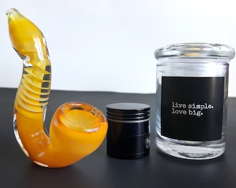 Orange Good Vibes Set: Spoon Pipe, Mini Grinder and Mini Glass Jar. Glass Pipe Stash Herb Grinder Glass Smoking Pipe Glass Jar