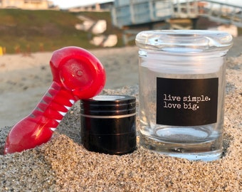 Red Good Vibes Set: Spoon Pipe, Mini Grinder and Mini Glass Jar. Glass Pipe Stash Herb Grinder Glass Smoking Pipe Glass Jar
