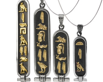 Egypt God Anubis Cartouche Necklace Two Sided Hieroglyph Necklace Jewelry Oxidized Sterling Silver Custom Made Egyptian Pendant with Name