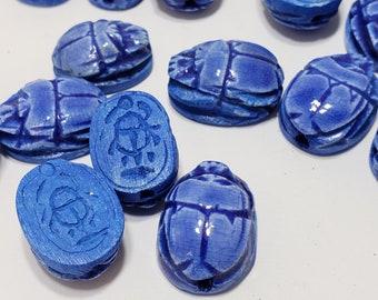 Glazed Scarab Beads - Small Hand-Carved Egyptian Soapstone -12+ pcs - Dark Royal Blue