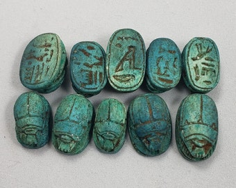 Small Teal Hand-Carved Egyptian Scarab Beads - 12 pcs
