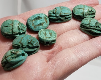 Blue/Green Scarab Beads - Small Hand-Carved Egyptian Soapstone -12+ pcs - S25