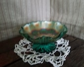 West moreland teal carnival glass dish