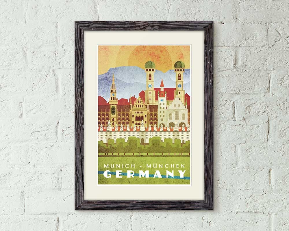 Munich Germany Vintage Style Travel Poster