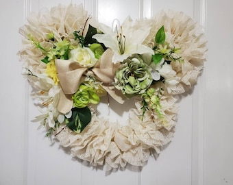 Disney Tiana Spring Floral Mickey Mouse / Minnie Mouse Wreath - Perfect Decor for Easter, Wedding, and Gift for Mom and Friends