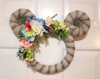 Disney Mickey Spring Floral Wreath - Burlap, Lace, Flowers- Easter and Mother's Day