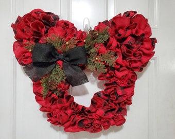 Disney Buffalo Plaid Burlap Christmas Wreath - Red and Black Country Farmhouse Mickey Holiday Decoration