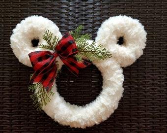 Disney Winter and Fall Fluffy Farmhouse Wreath - Perfect Mickey Mouse Decor for the Christmas Holiday Season