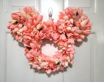 Spring Disney Tulip Wreath - Perfect Mickey Mouse Floral Decor for Mother's Day, Easter, Wedding, Gift, and More