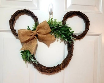 Disney Farmhouse Simple Greenery Door Wreath - Mickey Mouse Shaped - Perfect Decor for Spring, Fall, Housewarming, and Gift