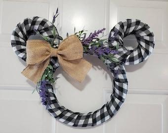 Disney Lavender Farmhouse Wreath - Perfect Mickey Mouse Door Hanger for Spring, Fall, Housewarming, Gift
