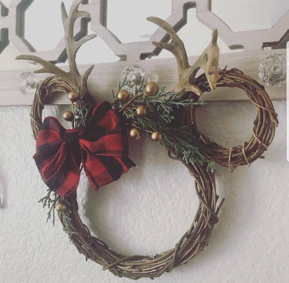 Buffalo Plaid Bow 10 x 8 A Little Magic Decor Disney Christmas//Fall Small Minnie Wreath Red with Gold Accents