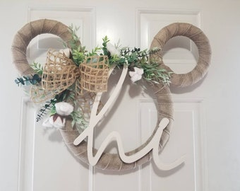 Large Disney Mickey Mouse Farmhouse Cotton Wreath - Perfect for Spring, Fall, Wedding, Housewarming Decor, and Gift