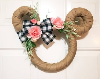 Disney / Mickey Burlap Spring Wreath with White and Black Buffalo Plaid Bow and Pink & White Roses - Hello Sign - Mother's Day and Easter