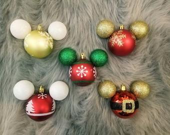 Snowflake & Santa Mickey Shaped Shatterproof Disney Christmas Tree Ornaments / Decoration - Red, Gold, and Green