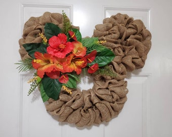 Disney Spring Tropical Polynesian Resort Inspired Mickey Mouse / Minnie Mouse Burlap Wreath - Moana, Lilo and Stitch