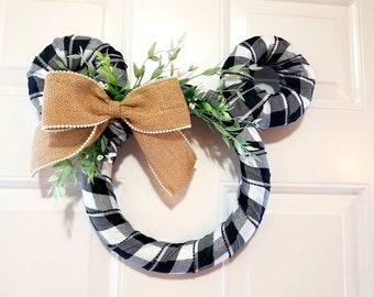 Disney Country Farmhouse Wreath - White and Black Buffalo Plaid with Bead Lined Burlap Ribbon - Spring, Fall, Housewarming, Gift
