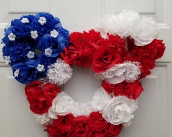 Disney 4th of July Patriotic American Flag Wreath - Mickey Mouse Independence Day Door Hanger and Home Decor