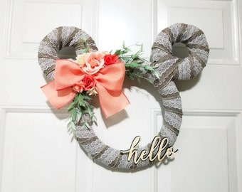 Disney Burlap, Lace, and Coral Roses Hello, Hello Spring, or Welcome Spring Wreath - Easter and Mother's Day