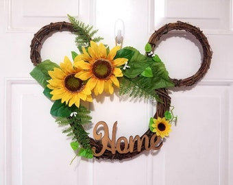 Disney Sunflower Spring Grapevine Home Wreath - Perfect Mickey Mouse / Minnie Mouse Home Decor and Gift