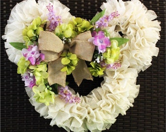 Disney Spring Wreath Floral Wreath with Burlap Bow - Purple, Green, and White - Easter, Bridal, Housewarming