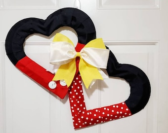 Disney Valentines Day Mickey and Minnie Heart Shaped Wreath - Perfect All Year Gift / Present -  Red, Black, White, and Yellow